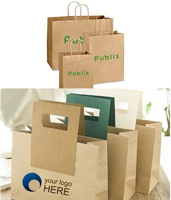 Six custom shopping bags printed with brand names and sample logo.