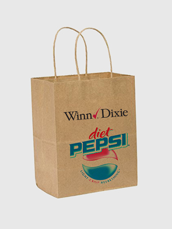 One brown paper bag with handles printed with two company logos of Winn Dixie and Diet Pepsi.