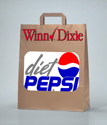 A brown paper bag printed with Winn Dixie and Diet Pepsi brand names.