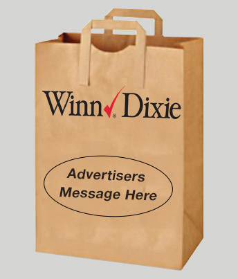One brown paper bag with handles printed with a company name Winn Dixie and sample message in front.