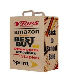 One brown paper bag with handles printed with different brand names, logos, and images.