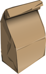 One large brown bag.
