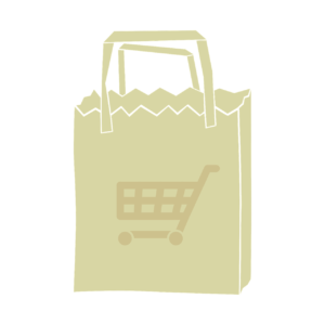 A vector sample image of a printed paper bag.