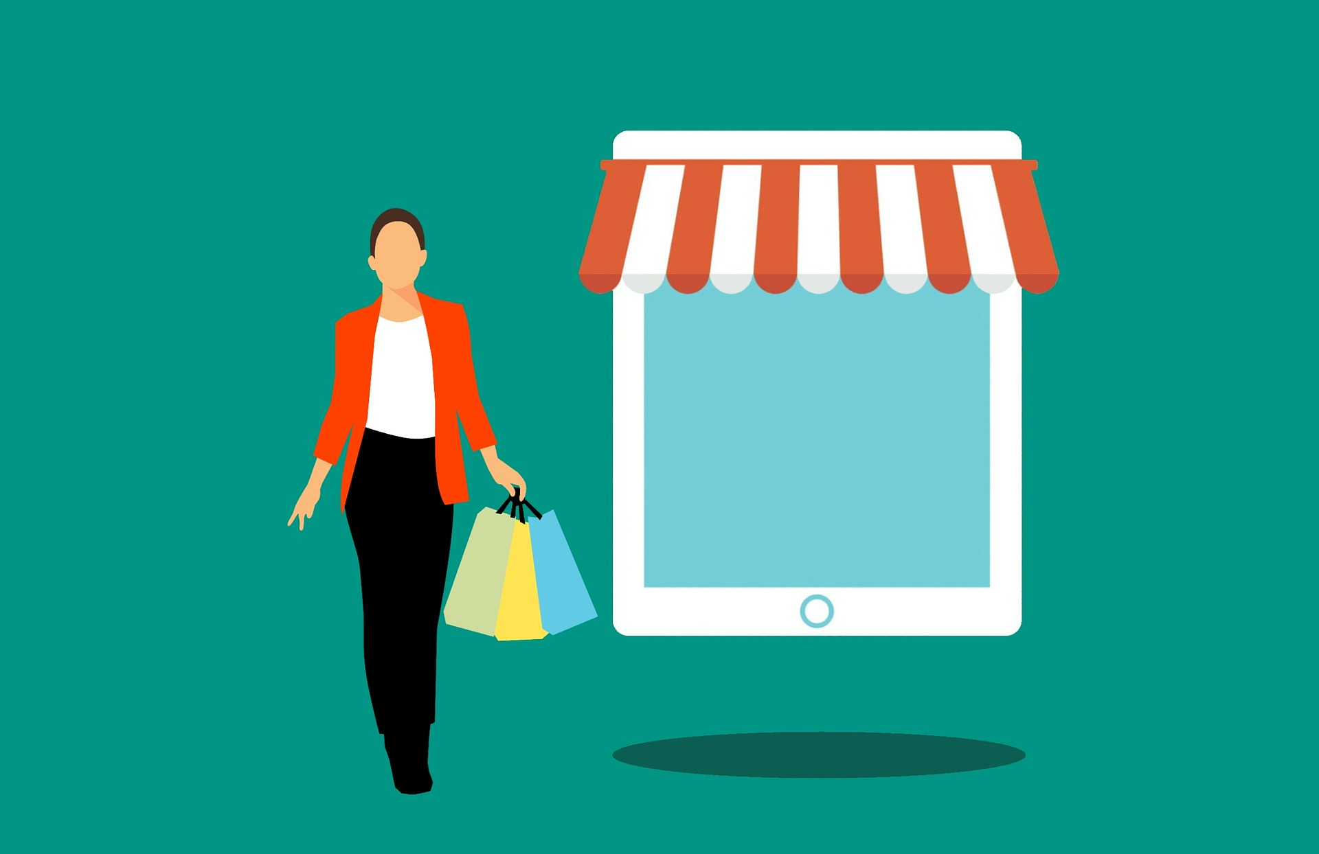 A vector image of woman holding grocery bags.