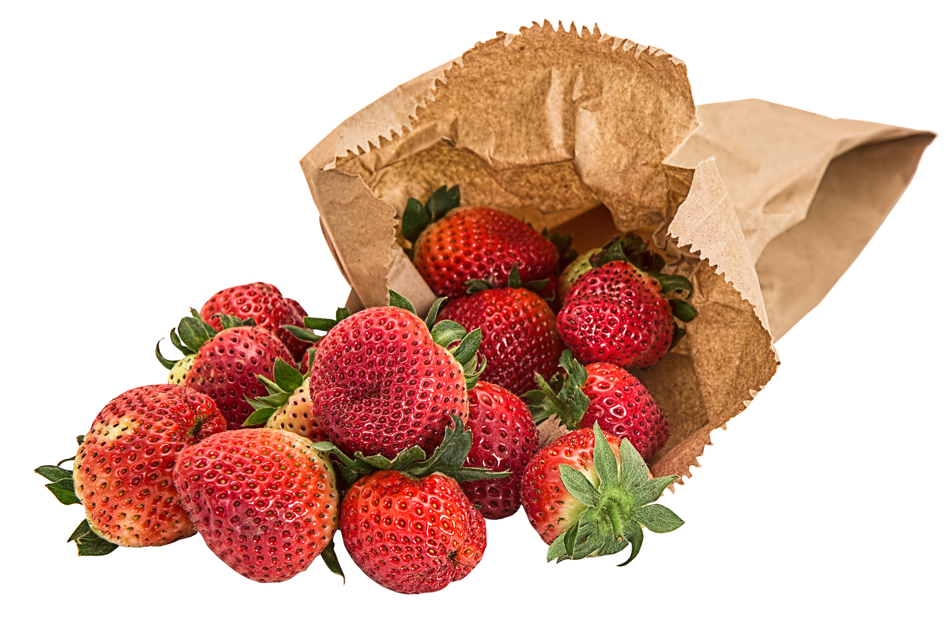 Kraft shopping bag with strawberries.