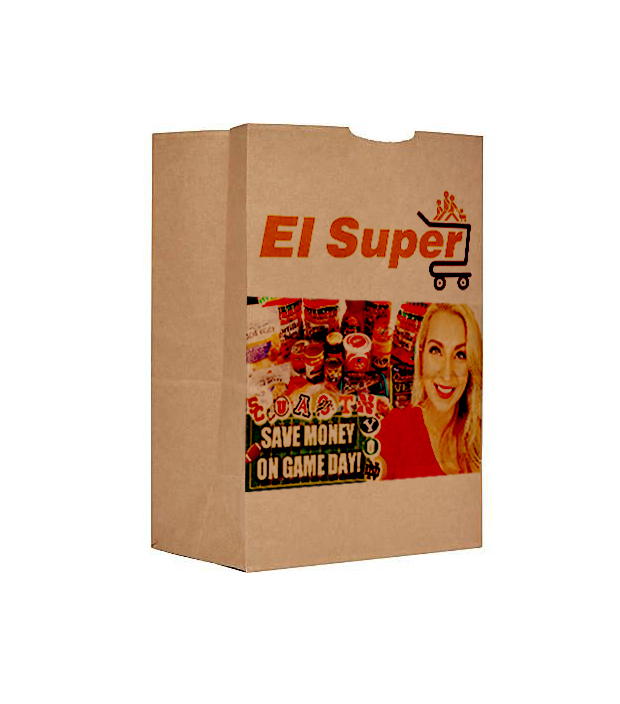 One brown paper bag printed with company name and product images in front.