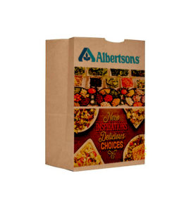 One custom shopping bag printed with brand names and product images.
