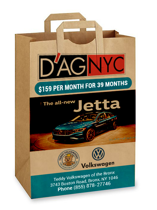 One brown paper bag with handles printed with company names, logos, product images, and contact information in front.