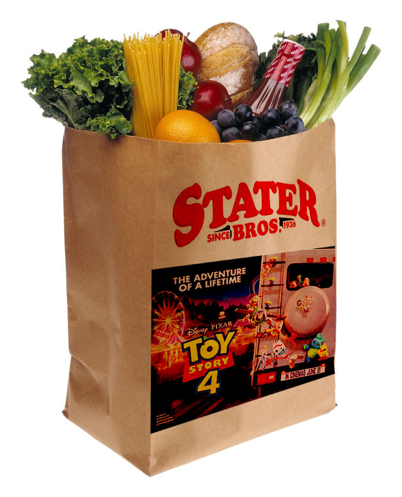 A brown eco-friendly grocery bag with fruits and vegetables placed inside, printed with a company name and images of Toy Story 4 movie.