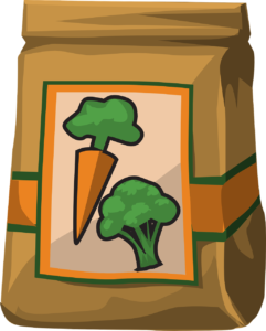 One brown grocery bag printed with an image of one carrot and one broccoli.