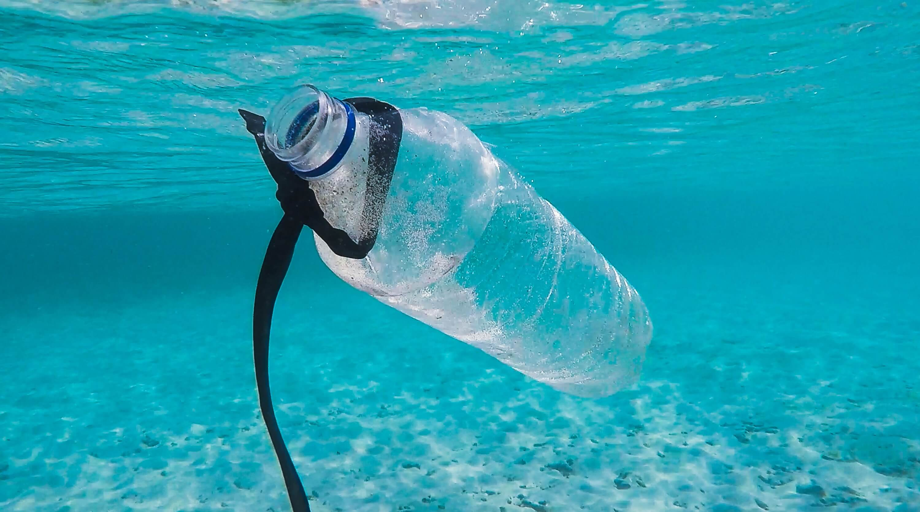 plastic bottle in the sea